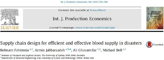 مقاله ترجمه شده با موضوع طراحی شبکه زنجیره تامین خون در حالت بحران به صورت کارا و اثرگذار